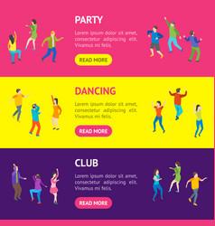 Isometric dancing people characters banner vector