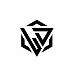 Ld logo monogram with triangle and hexagon modern vector