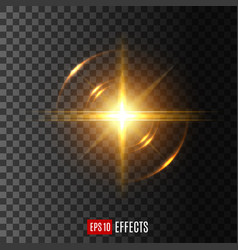 Light flash with lens flare effect icon vector
