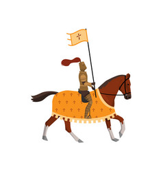 medieval knight with cross flag and brown horse vector image