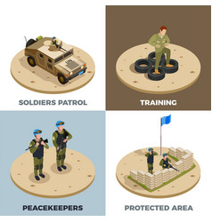 Military service 4 isometric icons vector