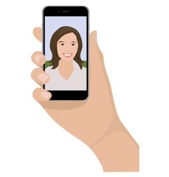 mobile phone selfie woman vector image