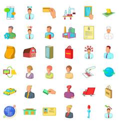 money career icons set cartoon style vector image