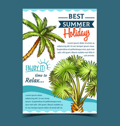 palm decorative trees on advertising poster vector image