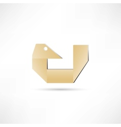 Paper bird icon vector