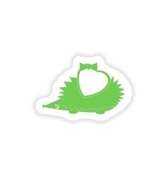 Paper sticker on white background hedgehog heart vector