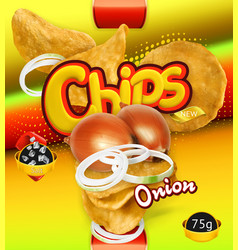 potato chips onion flavor design packaging 3d vector image