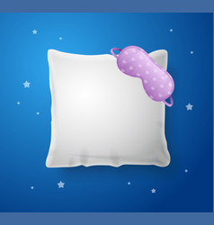 realistic detailed 3d white pillow and sleep mask vector image
