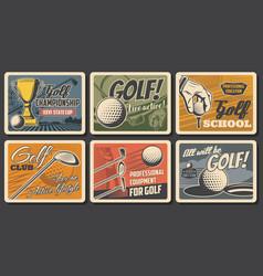 retro posters golf club league championship vector image