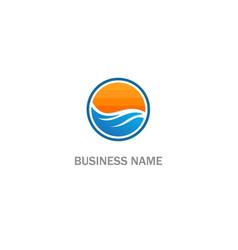 round sunset ocean logo vector image