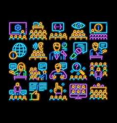 Seminar conference neon glow icon vector