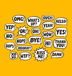 set comic speech bubbles chat communication vector image