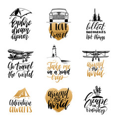 Set hand lettering with phrases about vector