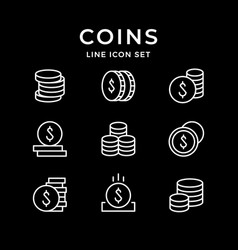 set line icons coins vector image