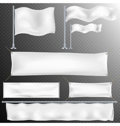 Set of 8 White textile banner and flags EPS 10 vector