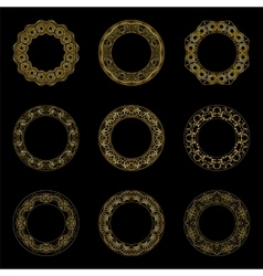 set of golden round frames vector image