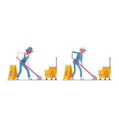 set of male and female janitor mopping vector image