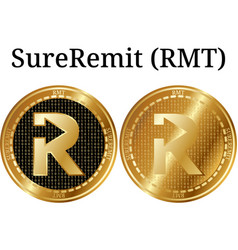 Set of physical golden coin sureremit rmt vector