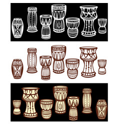 Set of tribal african drums vector