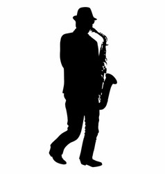 Silhouette of a saxophonist vector