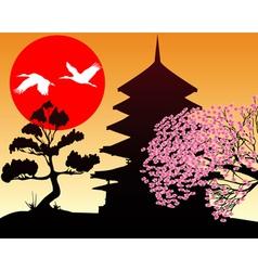 Silhouette Pagoda and sakura vector image