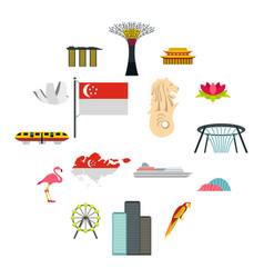 Singapore icons set flat style vector