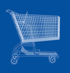 Sketch shopping trolley vector
