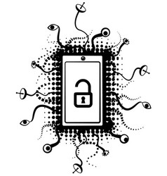 Smartphone surveillance lock symbol vector