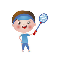 smiling happy boy plays tennis isolated on white vector image