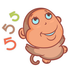 So cute little monkey smiling and funny vector