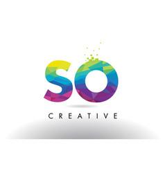 so s o colorful letter origami triangles design vector image