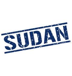 Sudan blue square stamp vector