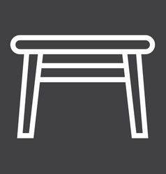 Table line icon furniture and interior vector