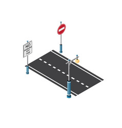 the road streetlight traffic vector image