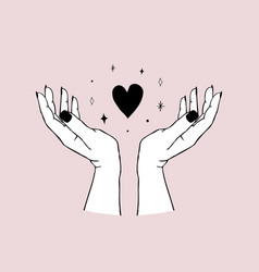trendy gesture - hands holding heart in modern vector image