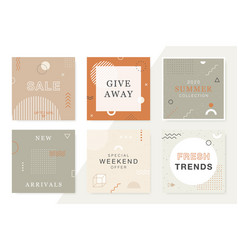 Trendy sale and discount backgrounds in memphis vector