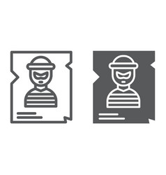wanted line and glyph icon police and reward vector image