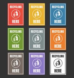 waste management labels set waste sorting vector image