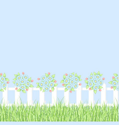 white fence with flowers vector image