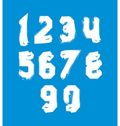 White hand painted daub numerals collection of vector