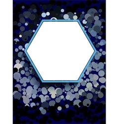 White hexagon on blue circle background vector