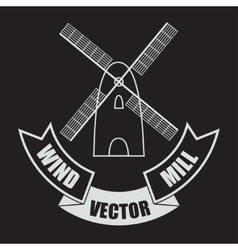 windmill on black background with a banner vector image