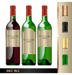 Wine bottles mockup your label here vector