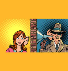 woman and spy listening to each other vector image