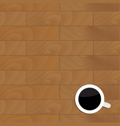 Wood table with cup coffee vector