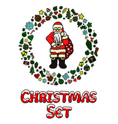 xmas set with santa claus and many other doodles vector image