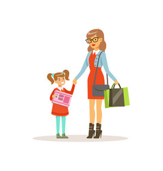 young woman shopping with her daughter in a vector image