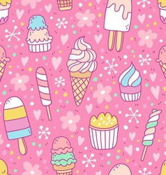 Yummy ice cream on pink background seamless vector image