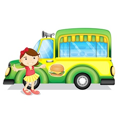 A girl beside a green burger truck vector image vector image