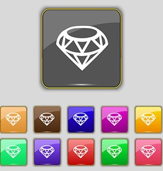 Diamond Icon sign Set with eleven colored buttons vector image